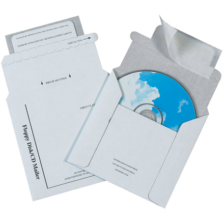 "5 <span class='fraction'>1/8</span> x 5"" Foam Lined White CD Mailers"