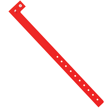 "3/4"" x 10"" Day-Glo Red Plastic Wristbands"